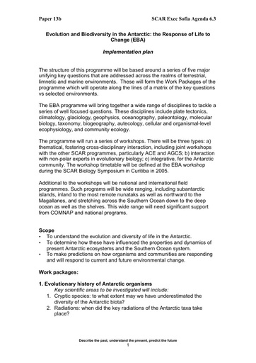 SCAR EXCOM 2005 13: Implementation Plan for Evolution and Biodiversity in the Antarctic (EBA)