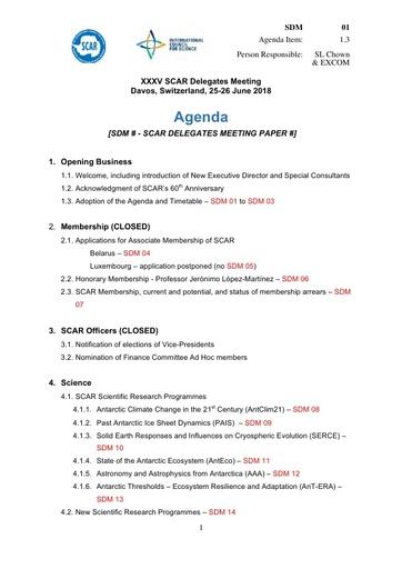 SCAR XXXV WP01: Summary Agenda