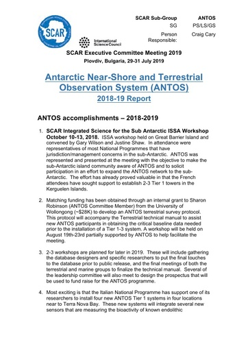 ANTOS Expert Group Report 2019