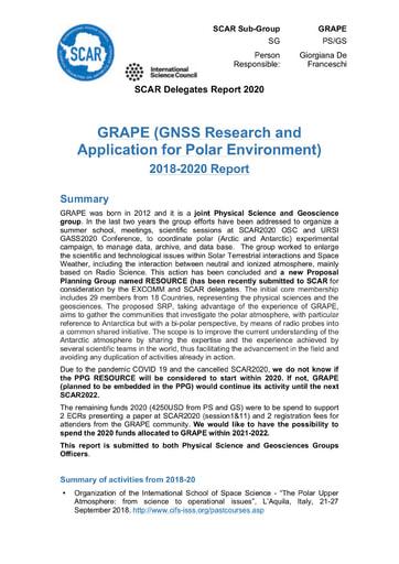GRAPE Expert Group Report 2020