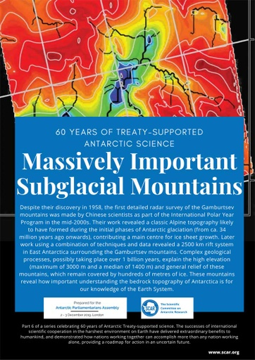 60 Years of Treaty-Supported Antarctic Science - Massively Important Subglacial Mountains