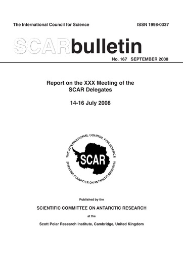 SCAR Bulletin 167 - 2008 September - Report on the XXX Meeting of SCAR Delegates, Moscow, Russia, 2008