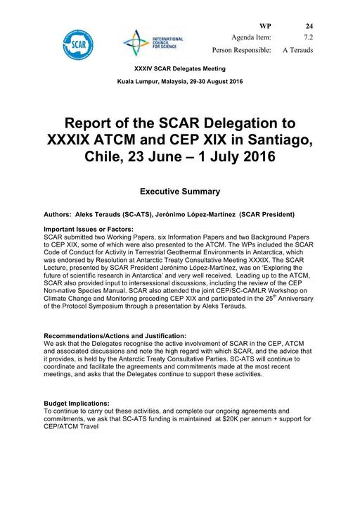 SCAR XXXIV WP24: Report of the SCAR Delegation to XXXIX ATCM and XIX CEP