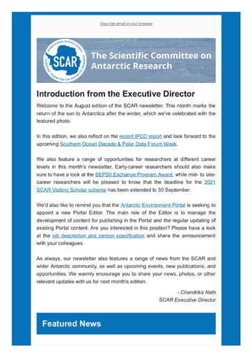 SCAR Newsletter August 2021