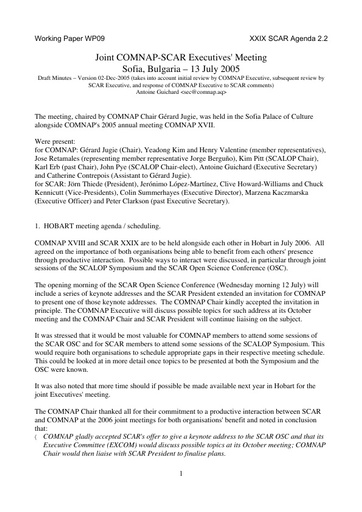 SCAR XXIX WP09: Report of a Joint Meeting of the SCAR and COMNAP Executive Committees, Sofia, July 2005