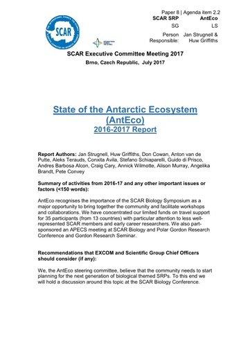 SCAR EXCOM 2017 Paper 8: Report on AntEco Activities and Plans