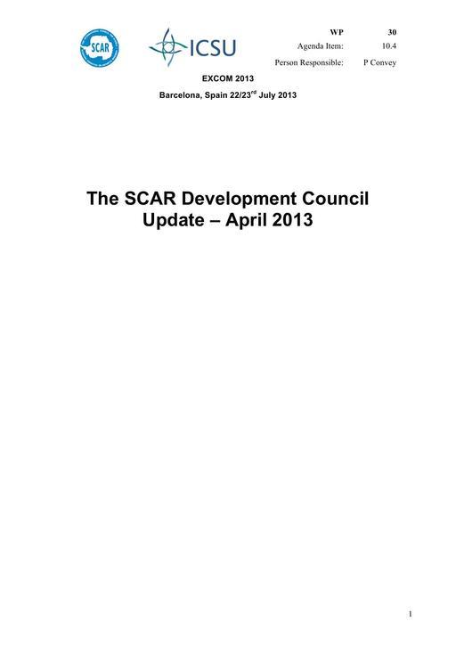 SCAR EXCOM 2013 WP30: The SCAR Development Council