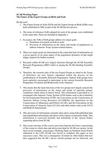 SCAR EXCOM 2007 WP09: Proposal for a new Expert Group on Higher Predators