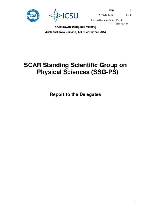 SCAR XXXIII WP07: Report of the SCAR Standing Scientific Group on Physical Sciences (SSG-PS)