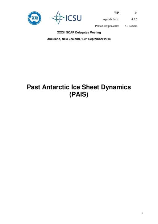 SCAR XXXIII WP14: Report on PAIS (Past Antarctic Ice Sheet Dynamics)