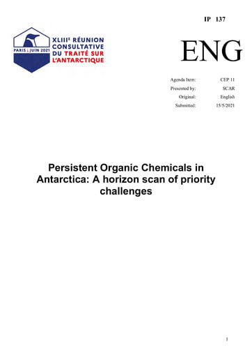 IP137: Persistent Organic Chemicals in Antarctica - A horizon scan of priority challenges
