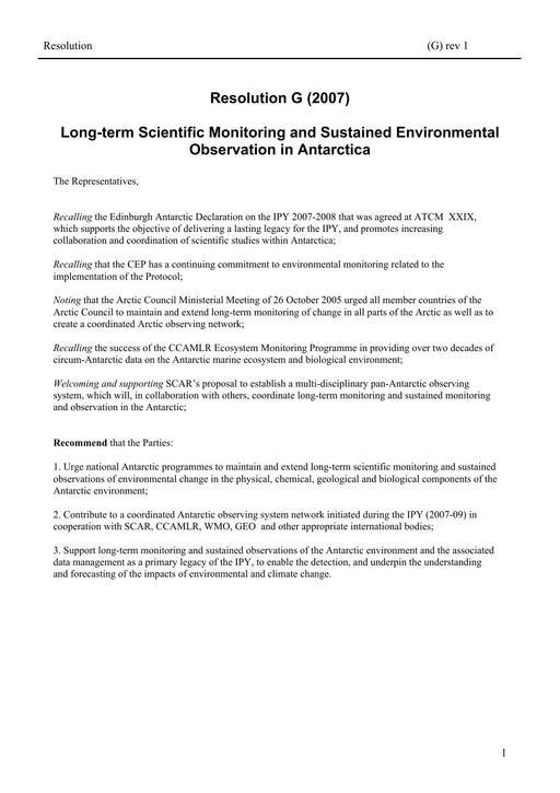 Resolution G (2007): Long-term Scientific Monitoring and Sustained Environmental Observation in Antarctica