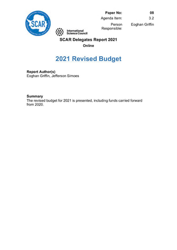 SCAR XXXVI Paper 08: Revised Budget for 2021