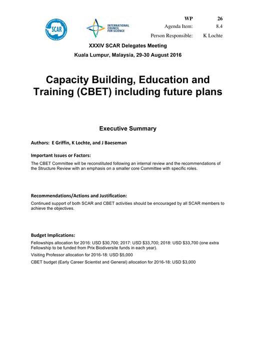 SCAR XXXIV WP26: Capacity Building, Education and Training (CBET), including Future Plans