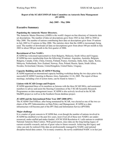 SCAR XXIX WP16: Report of the Joint Committee on Antarctic Data Management (JCADM)