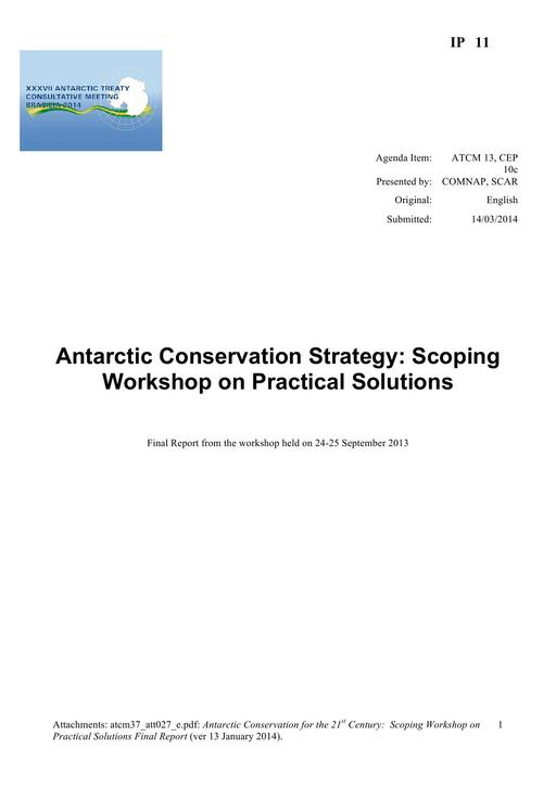 IP011: Antarctic Conservation Strategy: Scoping Workshop on Practical Solutions
