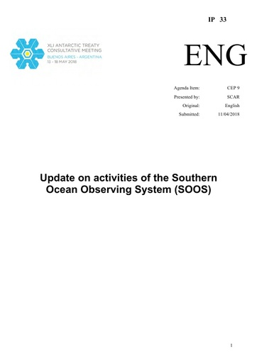 IP033: Update on activities of the Southern Ocean Observing System