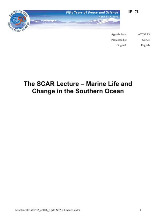 IP071: The SCAR Lecture – Marine Life and Change in the Southern Ocean