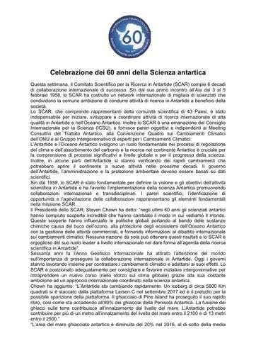 Italian version of SCAR's 60th Anniversary Press Release