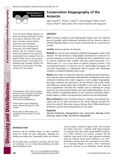 SCAR EXCOM 2013 IP07: Antarctic Conservation for the 21st Century – A Comprehensive Strategy: Appendix 2