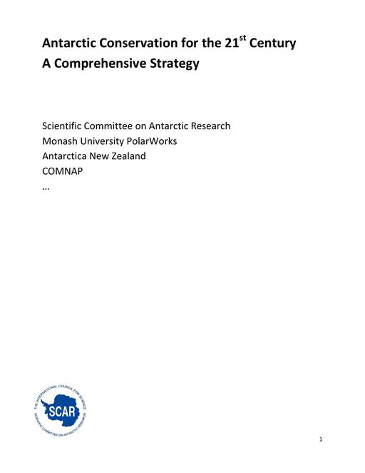 SCAR EXCOM 2013 IP07: Antarctic Conservation for the 21st Century – A Comprehensive Strategy: Appendix 3