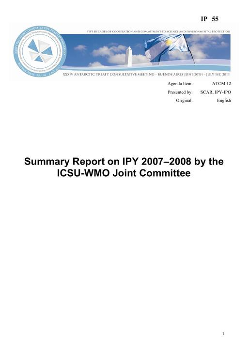 IP055: Summary Report on IPY 2007–2008 by the ICSU-WMO Joint Committee