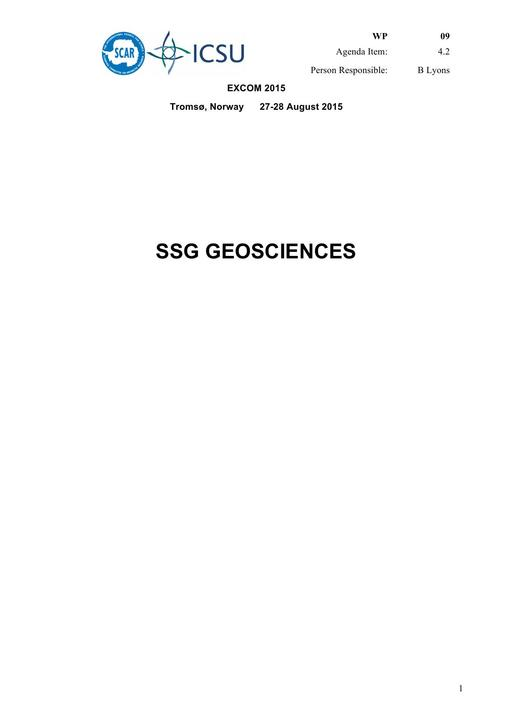 SCAR EXCOM 2015 WP09: Report of the SCAR Standing Scientific Group on Geosciences (SSG-GS)
