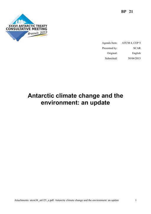 BP021: Antarctic Climate Change and the Environment: An Update