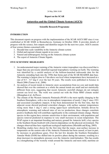 SCAR XXIX WP18: Report on Antarctica and the Global Climate System (ACGS)