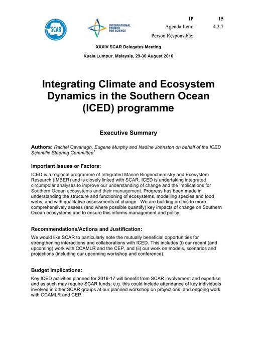 SCAR XXXIV IP15: ICED (Integrating Climate and Ecosystem Dynamics in the Southern Ocean) Report