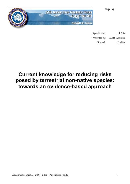WP006: Current Knowledge for Reducing Risks Posed by Terrestrial Non-native Species: Towards an Evidence-based Approach