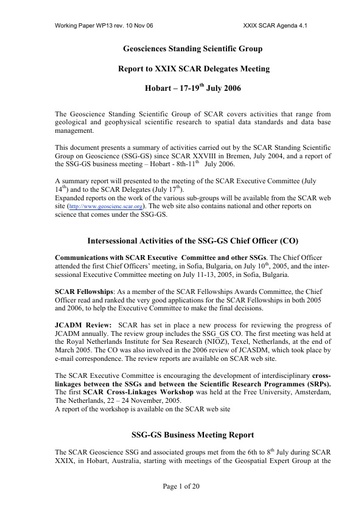 SCAR XXIX WP13: Report of the SCAR Standing Scientific Group on Geosciences (SSG-GS)