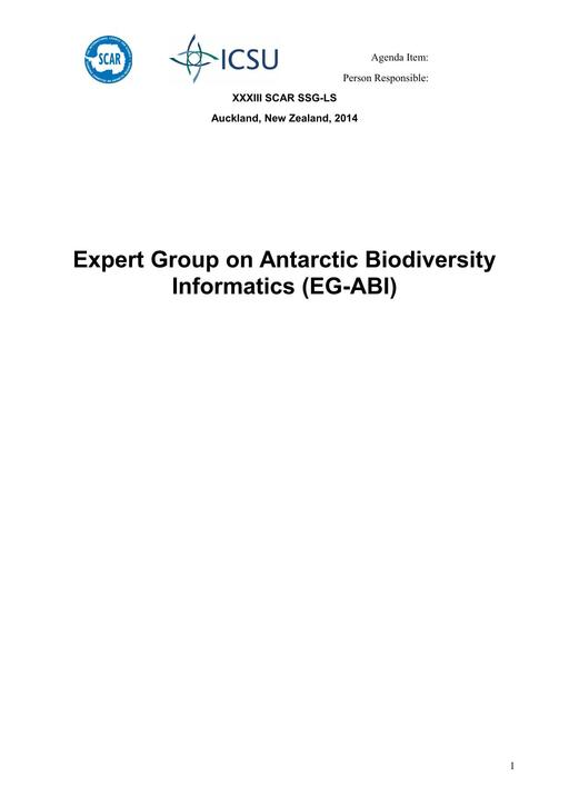 Expert Group on Antarctic Biodiversity Informatics (EG-ABI) Report 2014