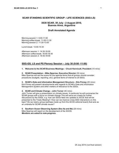 Life Science Business Meeting 2010 - Annotated Agenda