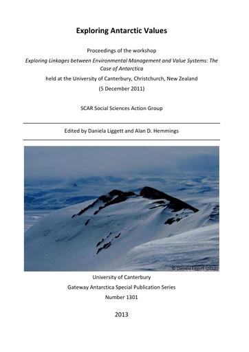 Proceedings of the 2011 Workshop Exploring Antarctic Values