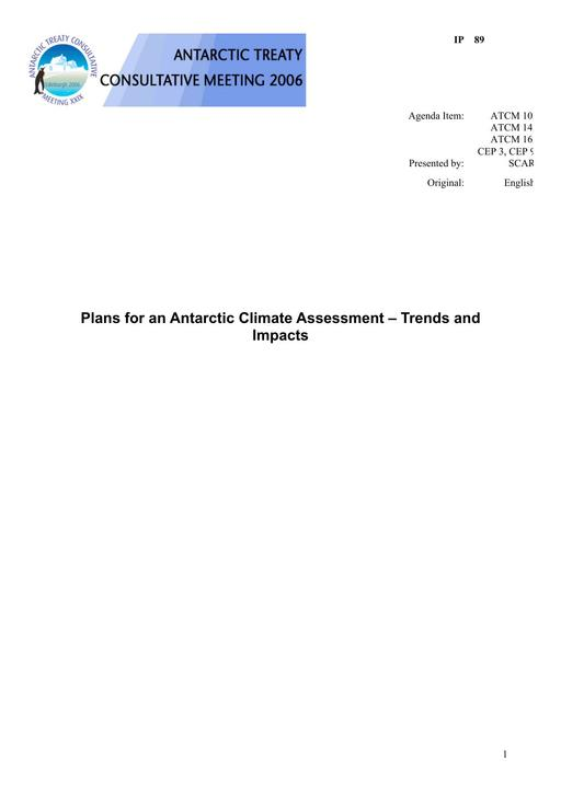 IP089: Plans for an Antarctic Climate Assessment – Trends and Impacts