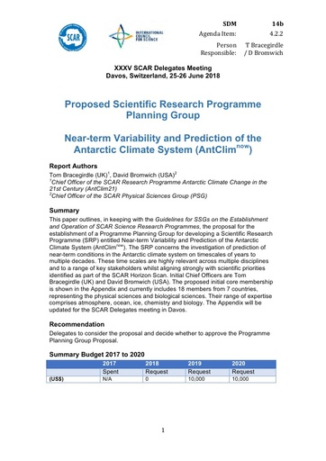 SCAR XXXV WP14b: Proposed Scientific Research Programme Planning Group - Near-term Variability and Prediction of the Antarctic Climate System (AntClimNOW)