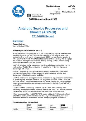 ASPeCt Expert Group Report 2020