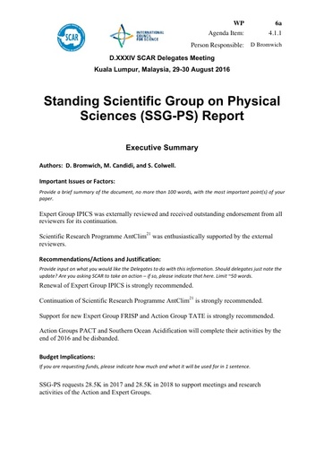 SCAR XXXIV WP06a: Report of the SCAR Standing Scientific Group on Physical Sciences (SSG-PS)