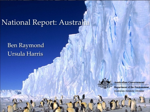 National Report to SCAGI from Australia, August 2014