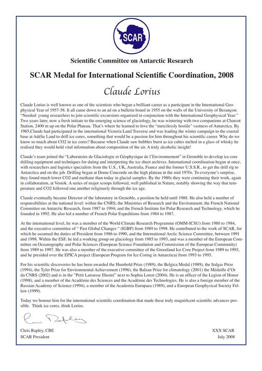 Claude Lorius - SCAR Medal for International Scientific Coordination 2008