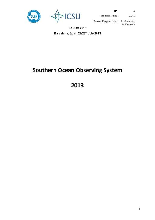 SCAR EXCOM 2013 IP04: Southern Ocean Observing System 2013