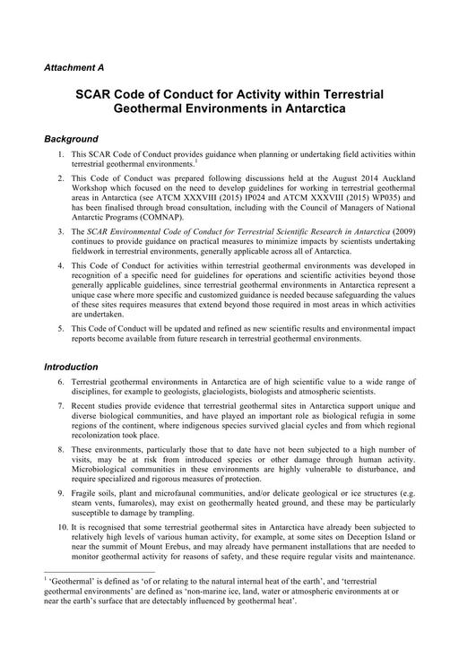 Code of Conduct for Activity within Terrestrial Geothermal Environments in Antarctica