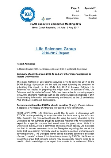 SCAR EXCOM 2017 Paper 5: Report of Life Sciences Group AND Life Sciences Group Reports