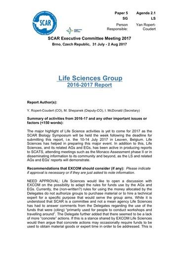 SCAR EXCOM 2017 Paper 5: Report of Life Sciences Group AND Life Sciences Group Reports