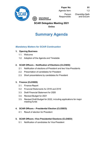 SCAR XXXVI Paper 01: Summary Agenda