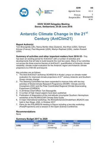 SCAR XXXV WP08: Antarctic Climate Change in the 21st Century (AntClim21)