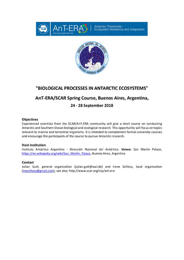 AnT-ERA 2018 Spring Course on Biological Processes in Antarctic Ecosystems