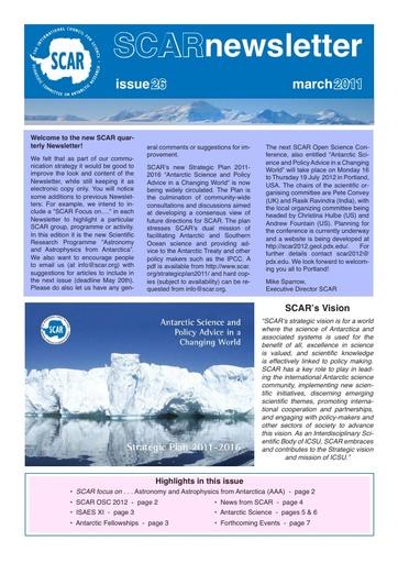 SCAR Newsletter 26 - March 2011