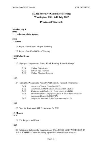 SCAR EXCOM 2007 WP02: Timetable